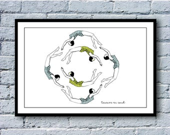 "Illustration in circles - series ""French expressions"". A3 