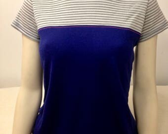 T shirt short sleeve striped/blue