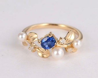 Pearl engagement ring 14k gold Unique Oval cut sapphire Dainty Leaf Cluster alternative diamond Birthstone Jewelry Anniversary gift for her