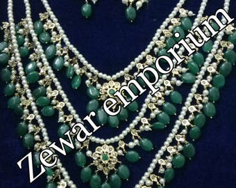ZE-N03 Three Layer bridal necklace set with earrings/ gift for her / bridal jewelry/ pakistani jewelry / hyderabadi jewelry