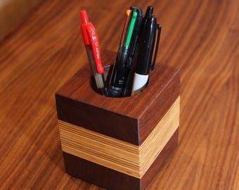 Walnut and birch pen holder