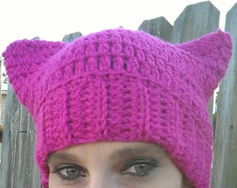 Pink pussyhat, pussy hat, pink cat ear hat, pink pussycat hat, women's march, pussyhat, resist, pussyhat project, crochet pussyhat, for her