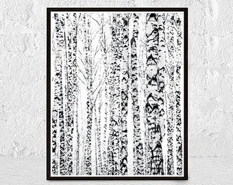 Winter Birches Print Tree Art Print Birches Print Illustration Birch Tree Nature Art Decor Painting Birch Tree Birch Print Winter Forest