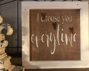 Hand painted framed maple plywood sign