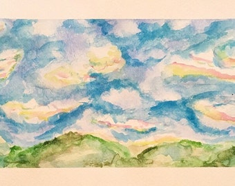Watercolor landscape sky, original painting by Stephanie Riely