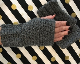 Hand made crochet fingerless gloves