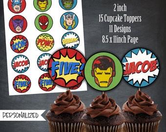 Comic Book Cupcake Toppers, Superhero Cupcake Toppers, Avengers Cupcake Toppers, Tags, Party, Comic, Personalized, Printables, Digital, DIY