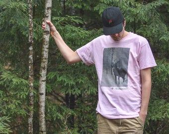 Pale Pink Spiral Deer T-Shirt