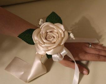 Ivory Satin Flower Corsage