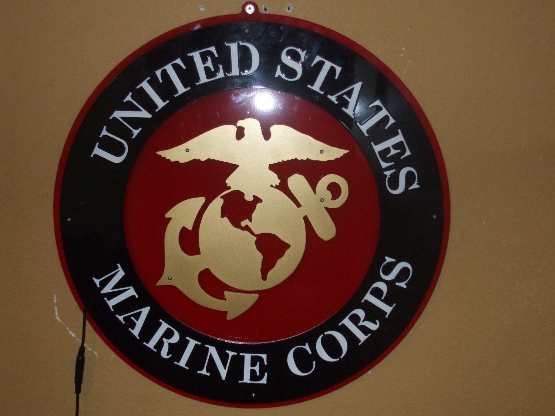 Marine Corps Man Cave Signs : United states marine corps metal led sign man cave eagle globe