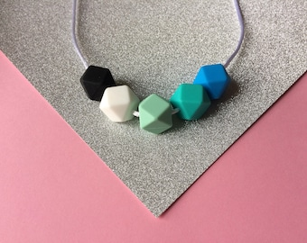 Silicone Teething necklace in blues and greens tones. Hexagon necklace. Geometric shapes. Silicone Beads. Food Grade Silicone. Blue & Green.