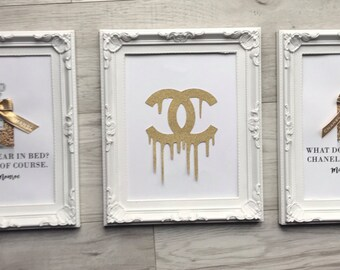 Gold Glitter Chanel No 5 No.5 Print set of 3 / Perfume Bottle / Coco Chanel / Mademoiselle / French Chanel Prints / Chanel Frame / Marilyn M