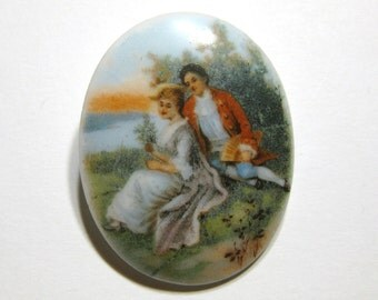 Vintage Fragonard Porcelain Brooch Victorian Revival Courting Couple Pin Cameo Portrait Oval Broach Vtg Hand Painted Antique C Clasp Cab
