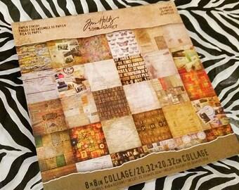 "Tim Holtz Idea-ology 8x8"" Paper Stash 36 ct. Collage Paper Pad"