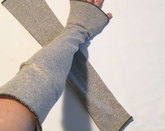 Elbow Length Grey Arm Warmers Fingerless Gloves Sleeves Driving Hand Covers Diy