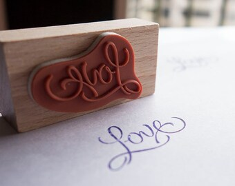 Rubber stamp LOVE, crafting, scrapbooking, card making