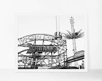 Coney Island Photograph, Black and White Printable, New York Print, Printable Photography, Printable Art, Digital Download, Printable Poster
