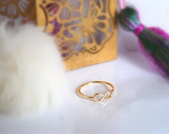 Gold plated sterling silver and sterling silver infinity ring