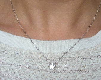 Necklace star of silver, 925 sterling silver star necklace