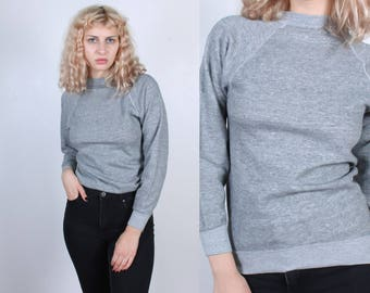 Retro 80s Sweatshirt // Vintage Heather Grey Pullover Slouchy Raglan Sleeve Normcore Mens Womens - XS to Small