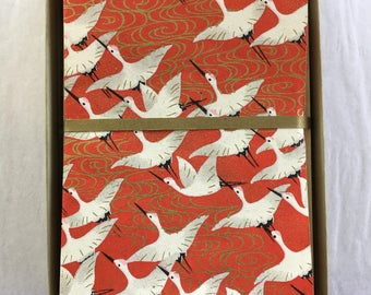 Tsuru Crane Japanese Handmade Washi Boxed Note Card Set