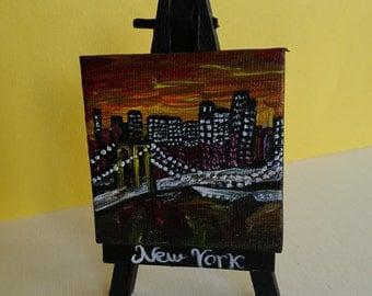 NewYork  Handmade acrilic painting on mini canvas (6.5cmx6.5cm/2.6inx2.6in),with custom made,painted (6.5x12.5cm/2.6x4.9in) tripod included.
