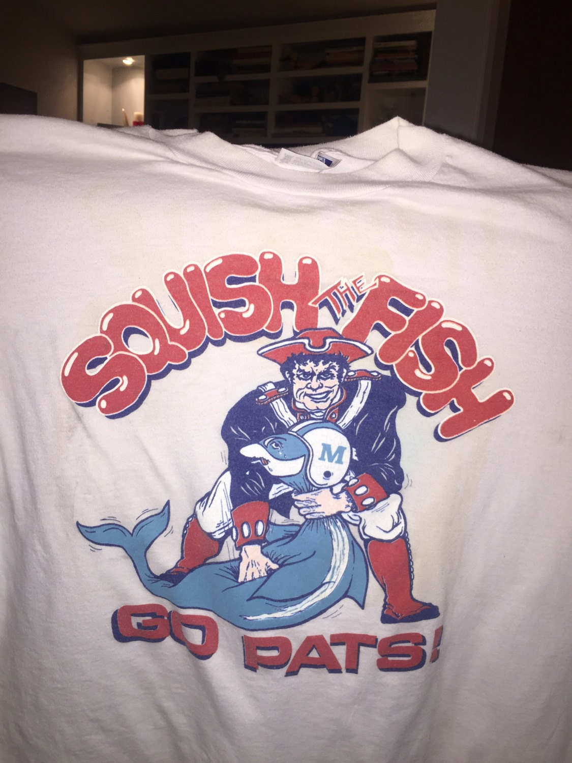 Vintage patriots t shirt squish the fish by oddfellowsbox for Squish the fish