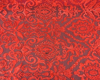Beautiful Red Embroidered & Heavily Beaded Lace Fabric Sold By The Yard