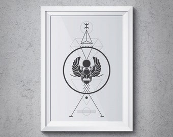 Sacred Geometry Scarab Beetle Print, Modern Abstract Triangle Design, Wall Art Instant Download Geometry Sg-01