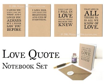 Set of Love Quote Notebooks | Bookish Wedding Gift Set, Paper Anniversary Literary Gift | Lined A6 Journal & Envelope Set | Gift for Writer
