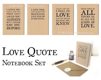Love Quote Notebook Set   Paper Anniversary Literary Writer Gift Set   Long Distance Love Letter Stationery Set, Ruled A6 Journal & Envelope