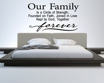 Wall Decal Sticker Bedroom Our Family Forever Quote Letterin Drawing Home Decor 344b