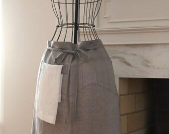 Grey Linen Bistro Apron with Linen Hand Towel
