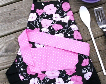 Girls Apron - Pink and Black Flowers