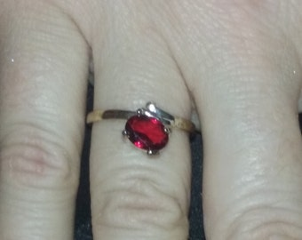 New Sterling Silver Ruby Red Zirconia Solitaire Ring,Marked  .925. Size 8