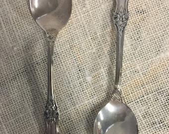 International Wild Rose sterling pair demitasse spoons-Reduced