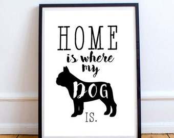 Home is where my dog is, Birthday, Present, 2017, A3, A4, Print, Gift, French Bulldog, Dog Love, Kitchen