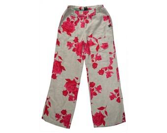 Vintage DIDI ® pants women roses red print floral 100% linen