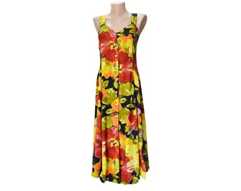 Vintage women dress multicolor flowers colorful floral Made in France