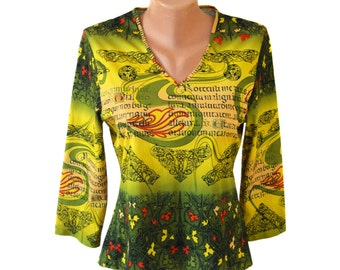 Vintage women tops blouses t-shirt green yellow