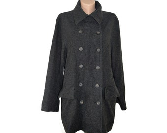 Vintage Sisley women coat gray wool