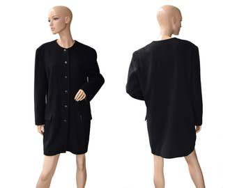 Vintage Pyramid ® Clothing women coat blazer black wool