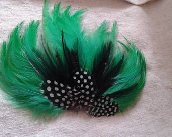 """brooch """"range of green and black feathers"""""""