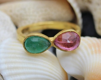 Natural Genuine Emerald And Pink Tourmaline Handmade 925K Sterling Silver Ring 18K Gold Plated Over Silver