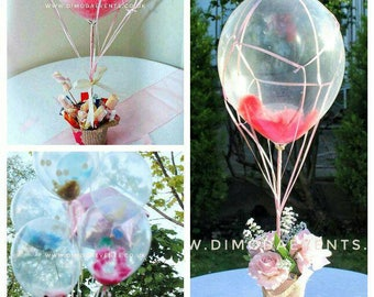 Hot air balloon feather centrepiece confetti  Baby shower, children party, confetti -London