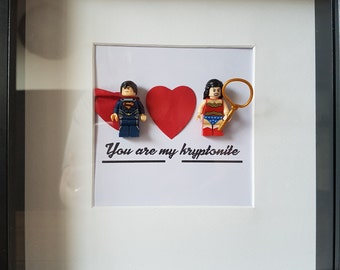 Superhero//Superman//Superwoman//Minifigure//Shadow Box Frame//Lego//Kryptonite//DC Fans//Personalise//Engagement//Anniversary//Love