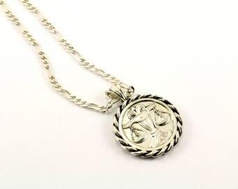 Vintage Libra Zodiac Sign Astrology Necklace 925 Sterling Silver NC 340-E