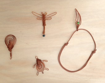 Woven copper necklaces