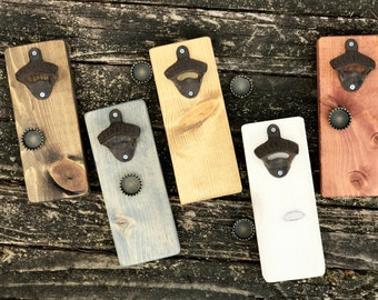 Custom Bottle Opener - Rustic Man Cave Gifts - Wooden Beer Gifts - Mens Gifts