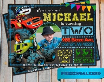 SALE 20 % Blaze and the monster machines invitation, Blaze and the monster machines, Personalized, Printable, Digital, Thank you card free